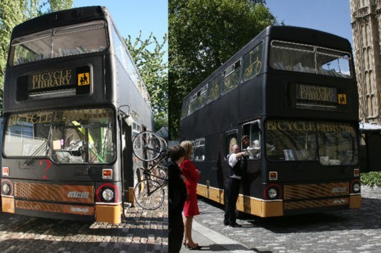 the bicycle library, bicycle library, bike library, bike rental, green design, eco design, sustainable design, green architecture, eco architecture, rent a bike, repurposed double decker bus, recycled double decker bus, karta healy