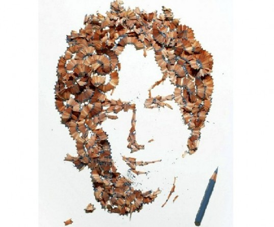 kyle bean, portraits pencil shavings, wallpaper handmade issue, waste material portraits, recycled portraits, pencil shaving art, pencil art, pencil portraits