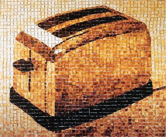 The Toaster by Ingrid Falk and Gus­tavo Aguerre, toaster made of 2,500 piece of toast, buenos aires art the toaster, the toaster Ingrid Falk and Gus­tavo Aguerre, toaster art, toast art, mural the toaster, the toaster installation