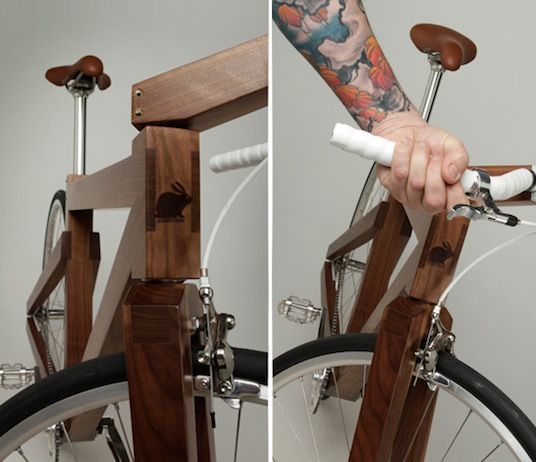 lagomorph design, black walnut bike, walnut wood bike, walnut bike, wooden bike, eco bike, green bike, sustainable bike, 6 thousand dollar bike, $6,000 bike, 6k bike, green transportation, biking