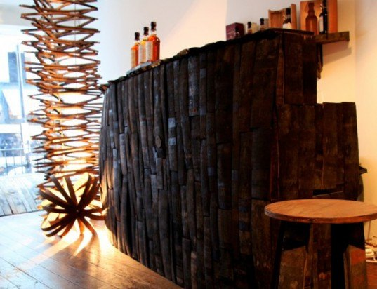 green design, eco design, sustainable design, recycled furniture, recycled materials, The Whisky Den, Anonymous Artists, Balvenie Distillery, Whiskey education, Covent Garden, London