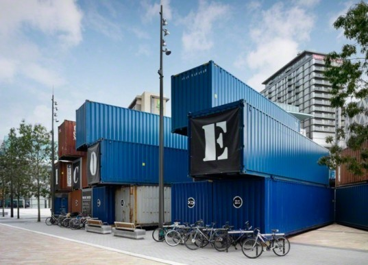 """Music Box"", BDP Architects, Manchester International Festival, Shipping containers, music, performance, theater, upcycled, recycle, creative reuse, eco design, sustainable design , green design"