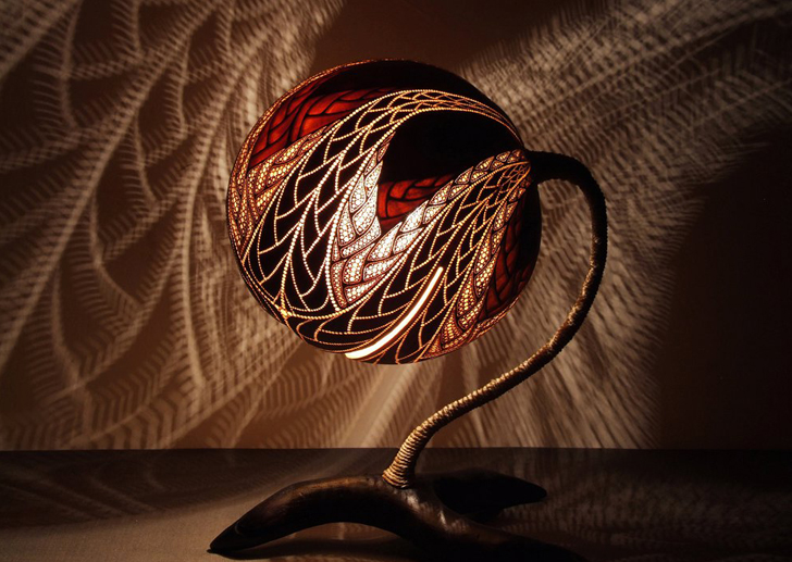 Intricately Carved Gourd Lamps Cast Magical Shadows on Your Walls