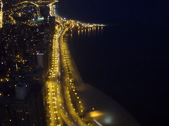 Chicago, Lake Shore Drive, yellow streetlights, view from Hanckock Center, Chicago at night, Lake Michigan