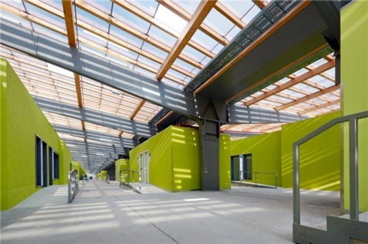 eco school, eco-classroom, environmental school, green art school, green back to school, green classroom, green roof school, green school, greenest school, LOK-EK, prefab school, Project Frog, rammed earth school, shipping container school