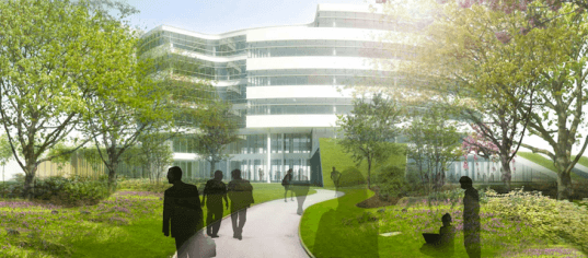 Novo Nordisk, green building, sustainable development, eco design, Henning Larsen, Bagsværd, Denmark, light-filled, landscaping, green design, sustainable design