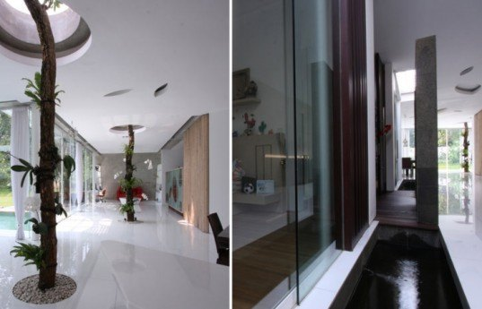 eco cooling house design, day lit house design, green roof, Indonesia green home, eco house, green home, natural cooling, eco house design, hallway pools, cooling pools,