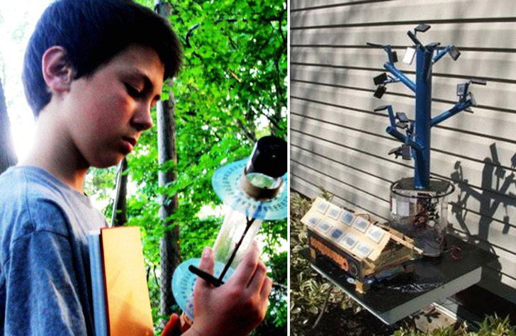 While most 13-year-olds spend their free time playing video games or cruising Facebook, one 7th grader was trekking through the woods uncovering a mystery of science. After studying how trees branch in a very specific way, Aidan Dwyer created a solar a