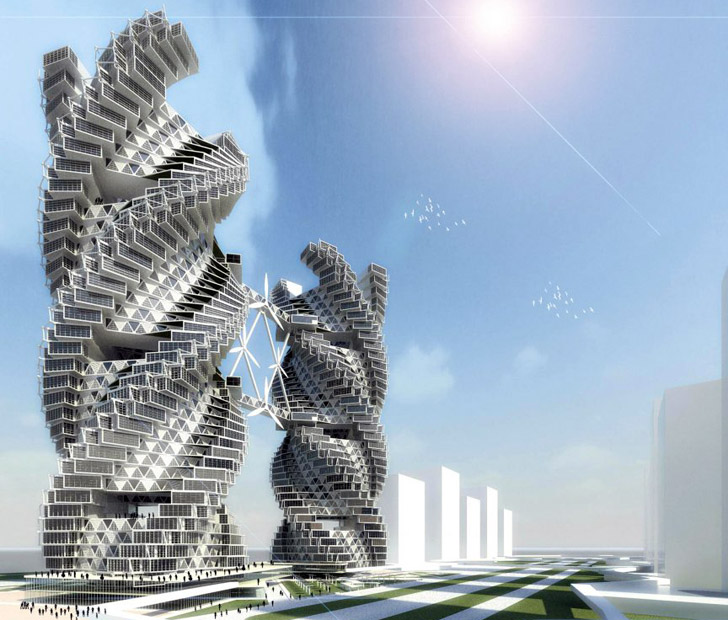 Porsche Design Tower >> Spiraling Self-Sufficient Eco Skyscraper Provides Water, Food, and Energy for Noida, India ...
