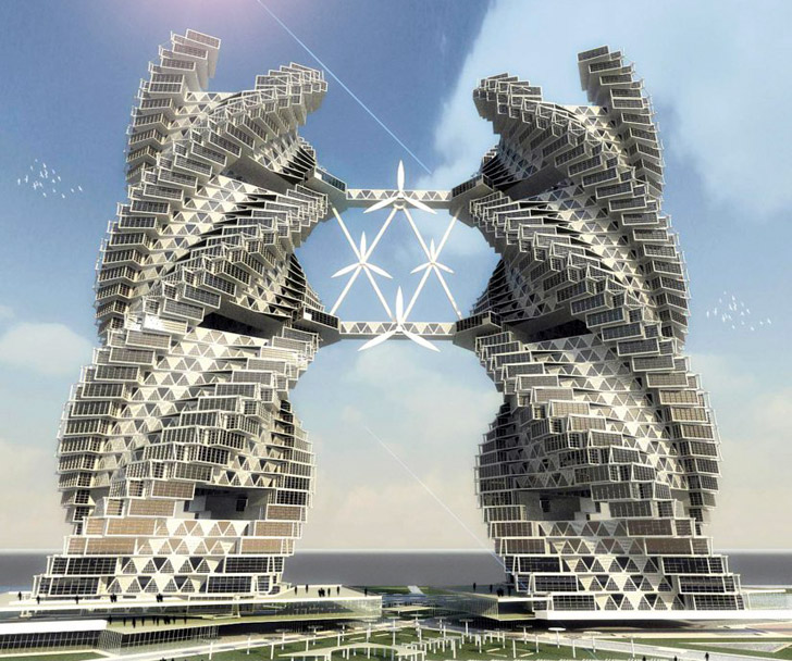 Spiraling self sufficient eco skyscraper provides water for Architecture design for home in noida
