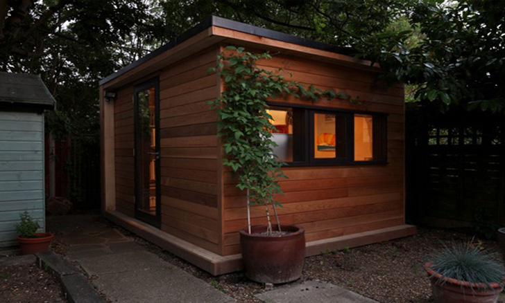 Backyard garden studio inhabitat green design for Outdoor office building