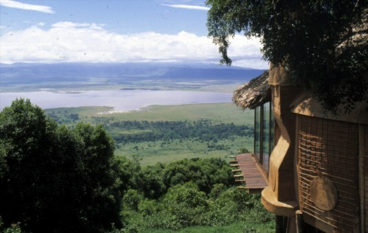 Ngorongoro Crater Lodge, Ngorongoro, eco tourism, hotel built into crater wall, hotel built into volcano wall, eco travel, green design, eco design, sustainable design,