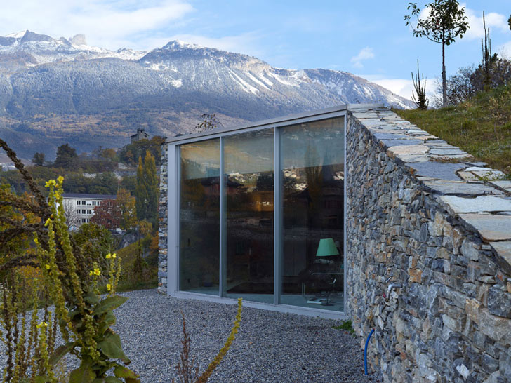 Underground Swiss Mountain Retreat Peeks Out From The
