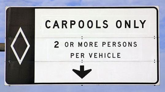 HOV lane, carpool lane, Zebigo, carpooling, ridesharing, carsharing, green transportation, alternative transportation