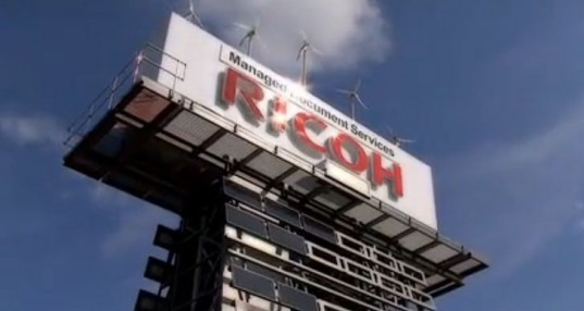 Ricoh eco-board, Ricoh billboard, solar billboard, wind-powered billboard, sustainable energy, renewable energy, sustainable business solutions, alternative energy, green transportation, alternative transportation