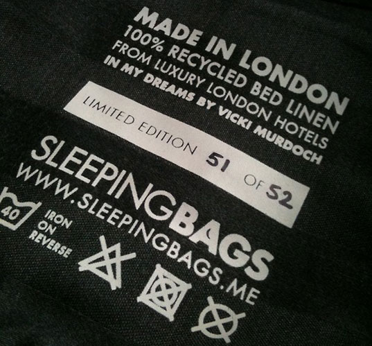 sleeping bags, st. mungo's, marriott hotel marble arch, vicki murdoch, andy marks, sir john hegarty, john bruges, reusable bag, recycled bed linens
