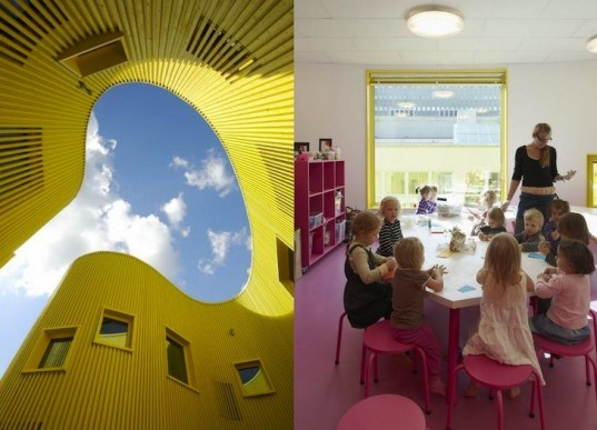 Tham & Videgård Arkiteker, canary-colored school, Tellus Nursery School, daylighting, mechanical load, pine facade, diffused lighting, natural lighting, natural materials, sustainable materials, green design, eco-design, sustainable design, energy efficiency