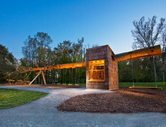 green design, eco design, sustainable design, Indianapolis Museum of Art, 100 Acres Park, Visiondivision, yellow poplar tree, Chopstick, visitor kiosk, bark shingles, Indiana