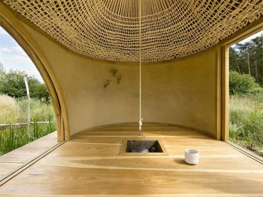 green design, eco design, sustainable design, A1 Architects, Teahouse, oculus, bamboo, charred larch, meditation room, green roof