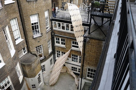 green design, eco design, sustainable design, Onur Ozkaya, Lawrence Lek, Jesse randzio, Architectural Association, 3013 installation, recycled materials, recycled plywood, London, urban design,