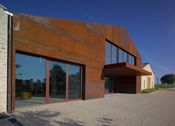 Green roofed and rusty chateau barde haut in france houses for Winery floor plans by architects