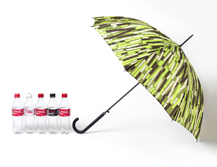 Wayne hemingway unveils umbrella made from recycled plant for Recycled products from plastic bottles