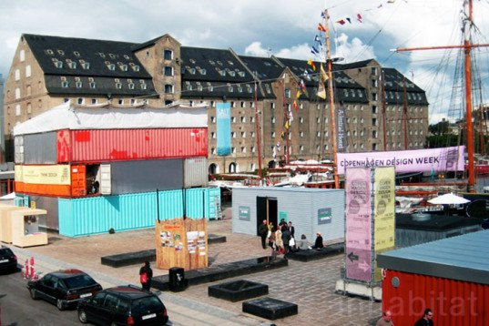photos stacked recycled shipping containers create a fantastic info point for copenhagen design. Black Bedroom Furniture Sets. Home Design Ideas
