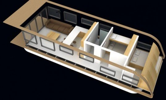 Kingsley Architects, SolarHome, off the grid houseboat, solar power, rainwater treatment, self sufficient mode, green design, eco design, sustainable design