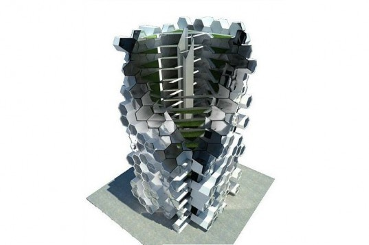 London Tower Farm, Xome Arquitectos, vertical farm, london, honeycomb structure, sustainable food
