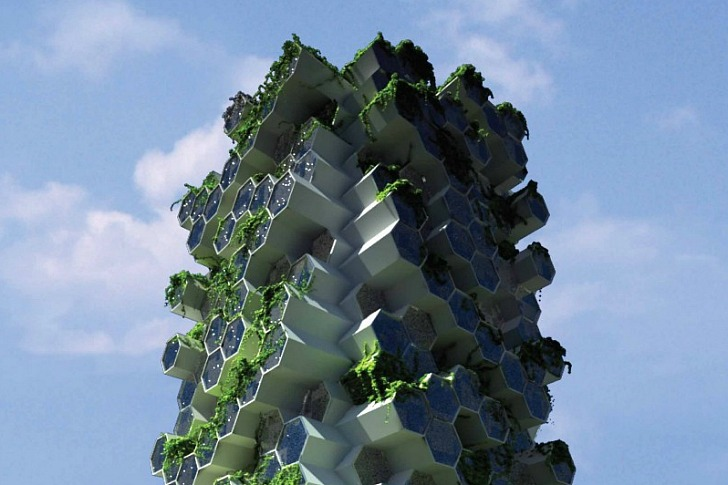 Beehive-Inspired Vertical Farm is a Self-Sufficient Mini Ecosystem for London