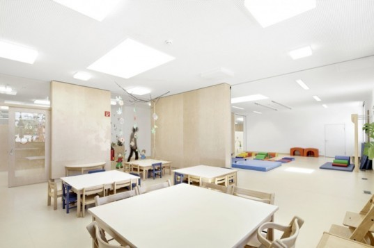 green building, green design, eco building, eco design, Europe green school,eco green school, green kindergarten design,Austrian green kindergarten, eco school, green school, daylighting in school, classroom skylight, open school floor plan, earth tube,