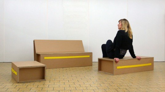 Ruben der Kinderen, folding furniture, Design Academy Eindhoven, seating, cardboard, eco, sustainable, flat pack, product design