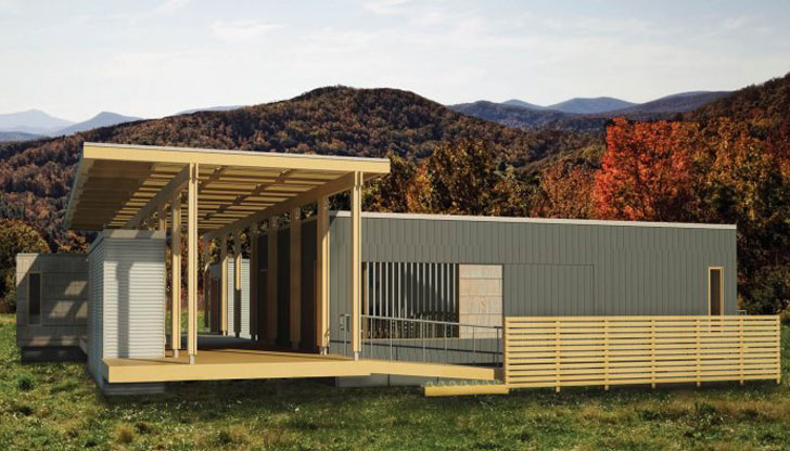 Appalachian State University's entry, the Solar Homestead, was inspired by traditional Appalachian settlements. A network of flexible living spaces surround a central living area that combines outdoor and indoor space. The home is marketed toward of