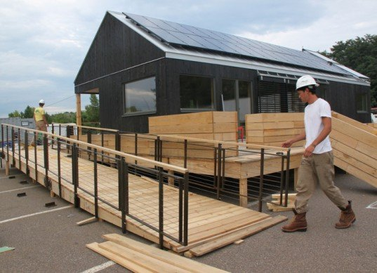 green design, eco design, sustainable design, Solar Decathlon, Washington D.C., off the grid, photovoltaic roof, solar energy, renewable resources, , Middlebury College, New England, Self-Reliance, gabled roof, photovoltaic array, solar heat gain, New England Farmhouse, green wall, living wall
