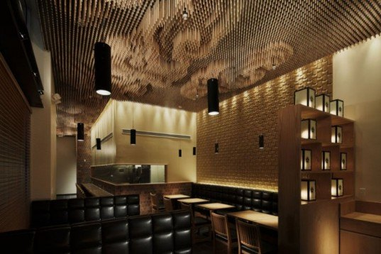 Recycled Materials,green Interiors,Decorative Objects,Art,recycled chopsticks,cloud interiors,tsujita restaurant,noodle bar,japanese design,los angeles