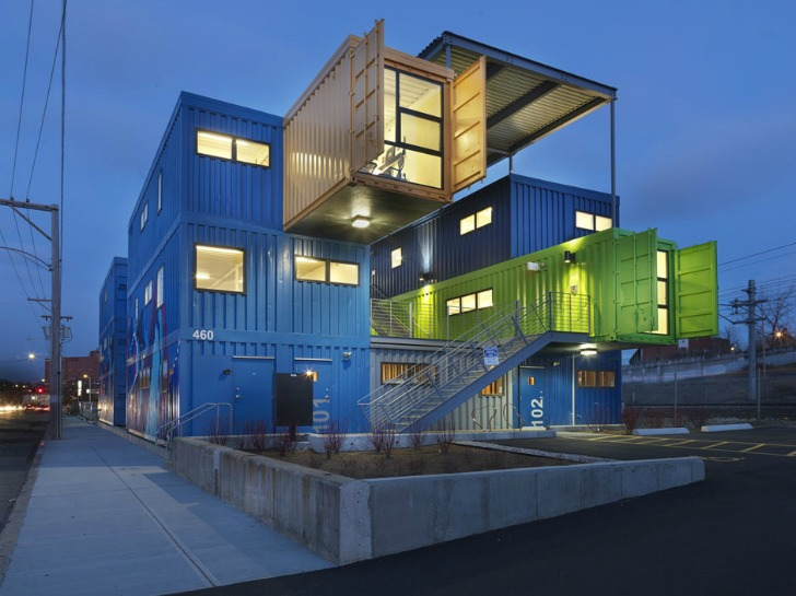 The Box Office Recycles 32 Shipping Containers Into 12 Colorful ...