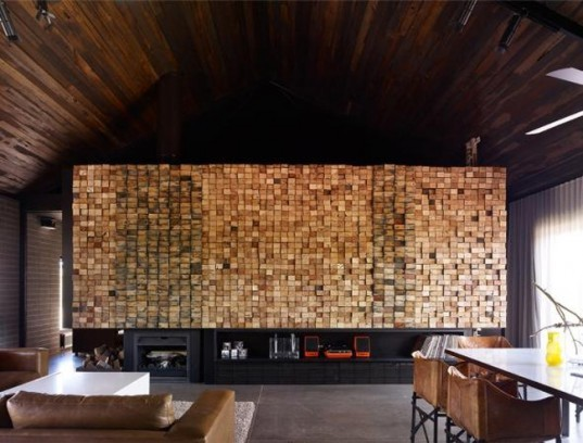 Award winning off grid house, barn house,off grid house , solar house, Australian off grid, water catchment, 2011 Australian interior design awards, end grain, natural materials, block construction, eco home design,
