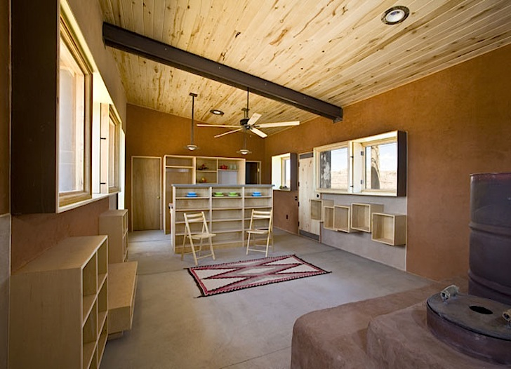 rammed earth, clay, passive design, solar water heater, solar panels, southern exposure, solar gain, glazing, Design Build Bluff, Utah, Navajo, Suzie Whitehorse, natural cooling, natural ventilation