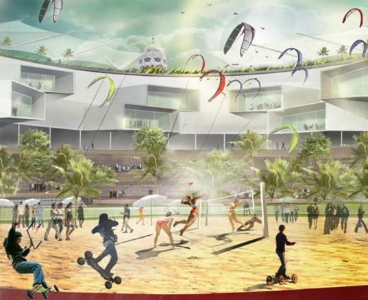 la plaza monumental, barcelona, bullring, bull fighting ring, recycled building, barcelona ecological center, sustainable building, eco design, green design