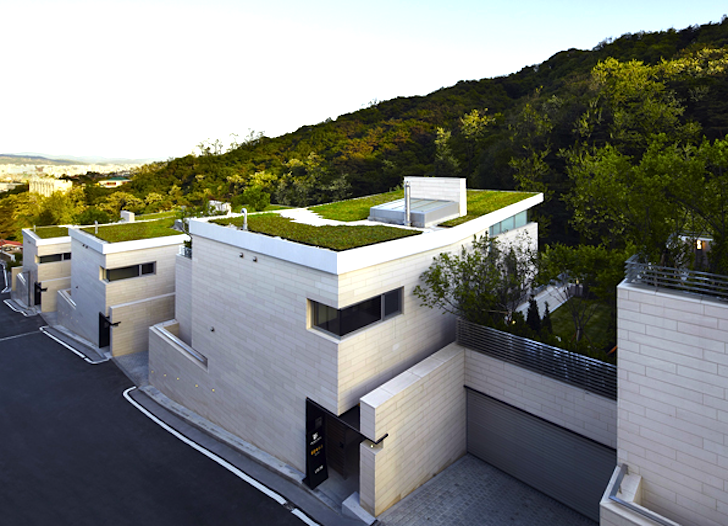 12 Staggered Green Roof Homes In Korea Bloom Create A Seasonal Symphony Of Blooming Plants