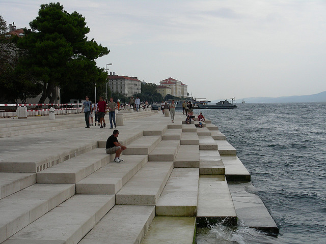 sun salutation, solar installation, sea organ, zadar seafront, croatia coastline, nikola basic architecture, sea and sun installations, public interactive art