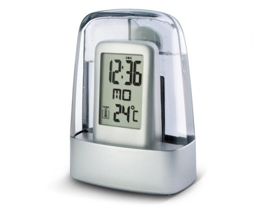 Water Powered Alarm Clock, green gadgets for back to school, green technology, greener gadgets, sustainable design, green design, eco gadgets, green products, green computer, back to school buying guide, clean technology