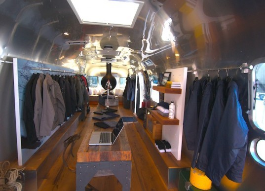 AETHERstream, Aether Apparel, Airstream, adaptive reuse, recycled materials, reclaimed materials, eco-design, green design, sustainable design, Thierry Gaugain, mobile shop, pop-up shop, temporary, apparel