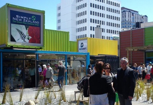 Earthquake recovery design, pop up mall, green shopping center,Re:Start Mall, Shipping container mall, Cargo container shopping mall, earthquake Christchurch container mall, eco mall, container shopping mall, pop up mall, Boxpark lawsuit,