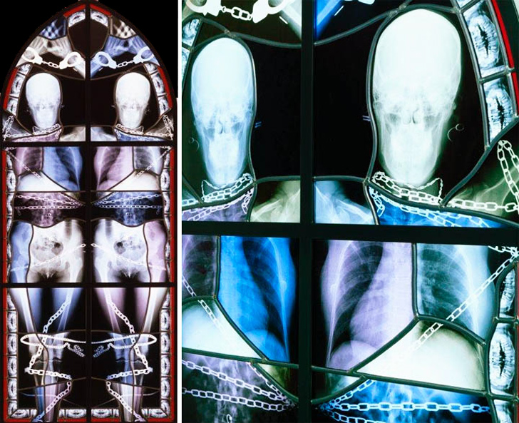 Tesla Roof Solar Panels >> Wim Delvoye's Creepy Stained Glass Windows Are Made From Recycled X-Rays | Inhabitat - Green ...