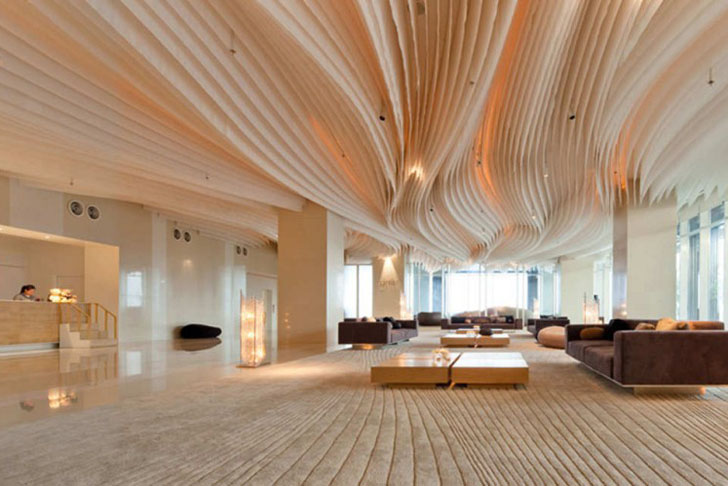 Department of Architecture creates fabric waves ceiling installation at  Hilton Pattaya Hotel Thailand  Inhabitat  Green Design, Innovation,  Architecture, ...