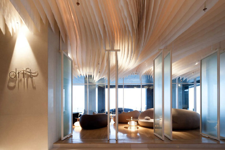 Thailands Hilton Hotel Features Stunning Interiors Inspired By The Seas Deep Currents Department Of Architecture Creates Fabric Waves Ceiling Installation