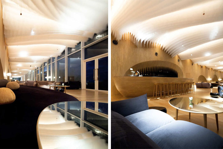 Department Of Architecture Creates Fabric Waves Ceiling Installation At Hilton Pattaya Hotel Thailand