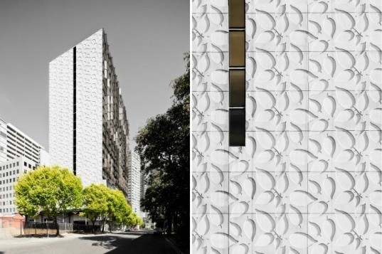 Elm Apartments, Elenberg Fraser Architects, louvered facade, shade screen, living walls, melbourne, residential tower