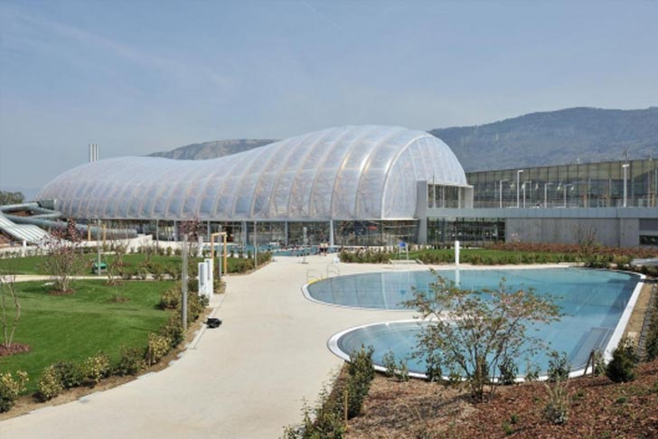 L35's bubble-shaped Vitam'Parc is a health and leisure center near Geneva